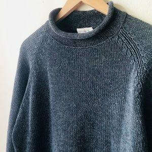 Vintage linen blend jcrew grey mock-neck sweater